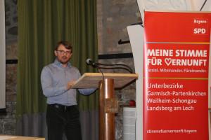 Philipp Dahlmann am Podium, Meine Stimme für Vernunft, SPD-UB-GAP