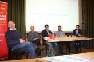 Podium Meine Stimme für Vernunft, SPD-UB-GAP, mit Moderator Rainer Glaab